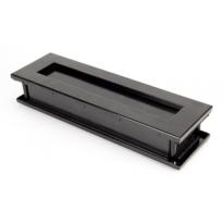 Wardlo briefplaat buitenmaat 315x92mm/ opening 249x41mm smeedijzer zwart