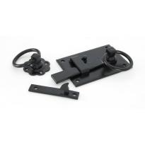 Wardlo klinkstel rechts, 152mm, ring 69mm smeedijzer zwart
