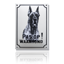 WH-03 emaille waakhondbord 'Deense dog'