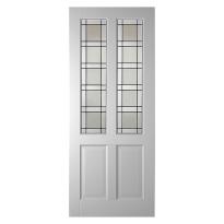 WK6542 stompe glas-/paneeldeur met glas in lood
