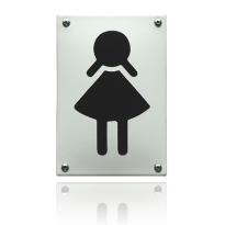 Emaille pictogram 'Damestoilet' rechthoekig