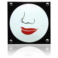 Emaille pictogram 'Damestoilet' vierkant