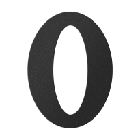 Huisnummer 0 zwart, 150 mm