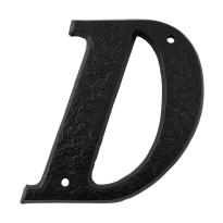 Landelijke huisnummer toevoeging letter 'D', smeedijzer zwart
