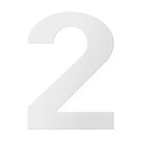 RVS huisnummer 2, wit