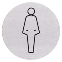 RVS pictogram 'Damestoilet' rond