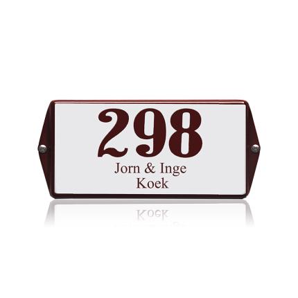 Emaille huisnummer met naam wit, 200 x 100 mm, model oor