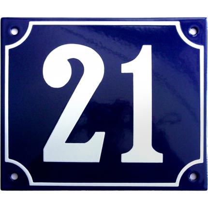Emaille kobalt blauw huisnummerbord met witte cijfers, 150x180 mm