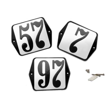 Klassiek huisnummer emaille wit/zwart, klassieke cijfers, 100x100 mm