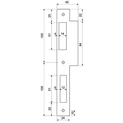 Mauer 432 sluitplaat t.b.v. dag en nacht slot, rechthoekig RVS, DIN LS