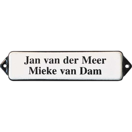 Naamplaat emaille wit, zonder kader, letters Times, 100x30mm