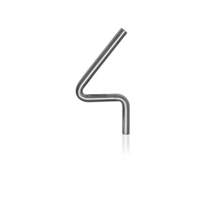 RVS huisnummer 4, 10 x 130 mm grijs