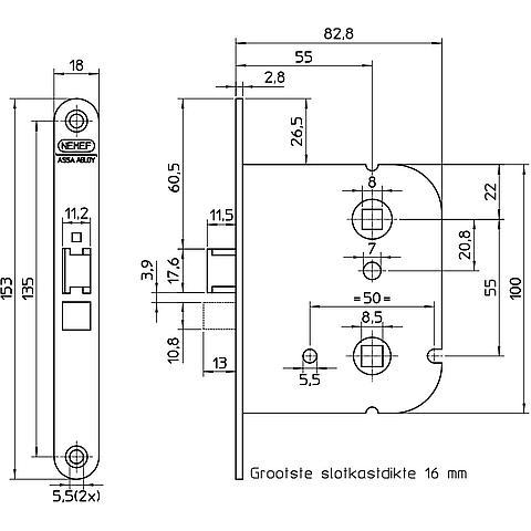 Nemef 1444 DIN LS badkamer/wc-slot staal gelakt - deurbeslag.nl