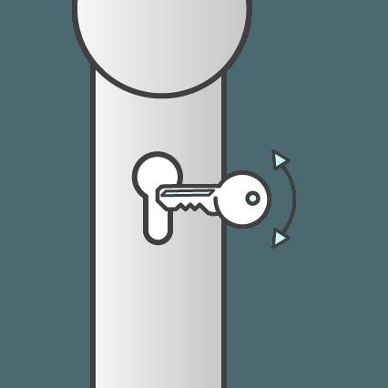 Cilinderbediend: de deur opent middels de sleutel in de cilinder.