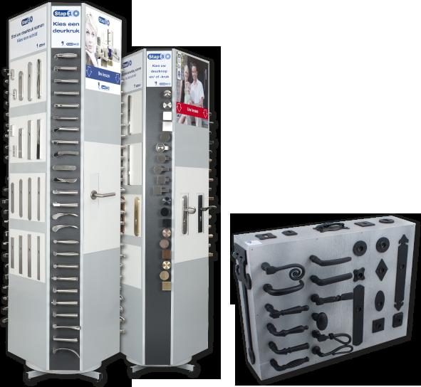 GPF CombiVari displays die worden gebruikt tijdens het samenstellen van deurbeslag.